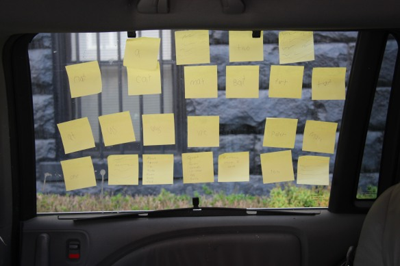 "People keep asking, ""Why post-it notes in your car window?"" I don't know..."