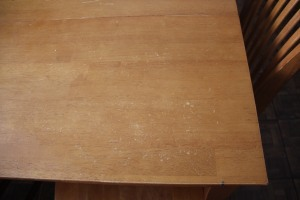 scratched table