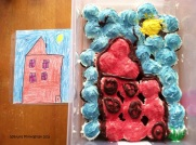 Cupcakes decorated to match my son's typical drawings.